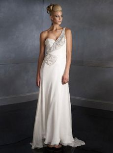 Sexy Sheath / Column One Shoulder Floor-length Chiffon Beading White Evening Dresses