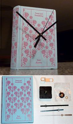 Repurpose a vintage old book into a working clock, by adding clock works to the cover. Recycle, Upcycle, Salvage! For ideas and goods shop at Estate ReSale & ReDesign, Bonita Springs, FL