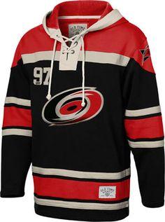 Carolina Hurricanes Black Old Time Hockey Lace Up Jersey Hooded Sweatshirt #carolina #hurricanes #nhl