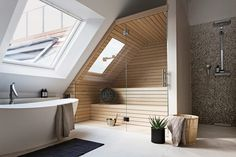 Post with 0 votes and 2086 views. [Room] Shower, bath and sauna area in a penthouse loft located in Berlin, Germany. Minimalism Interior, Top 10 Bathrooms, House, Interior Design Inspiration, Modern House Design, Modern House, Modern Loft, Modern Bathroom, Bathrooms Remodel