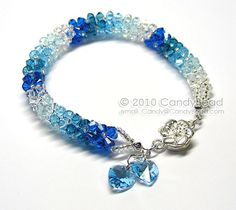 Sweet Blue Shade Swarovski Crystal Bracelet with Flower Magnetic clasp, very beautiful!!!    I have many items for the Best Beautiful Bracelets. Please come look!  Thank you ♥    -----------------------------------------------  Matching necklace:  http://www.etsy.com/listing/85953247/swarovski-crystal-necklace-luxurious