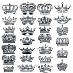 Big vector set of hand drawn detailed crowns for design royalty-free big vector set of hand drawn detailed crowns for design stock vector art & more images of retro style