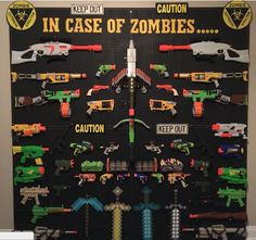 Pegboard storage for your kid's nerf gun collection!