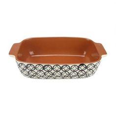 "12"""" Basic Luxury Decorative Black and White Diamond Rectangular Terracotta Oven Baking Dish"