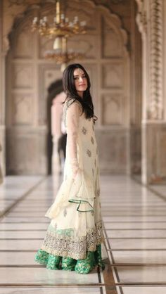 #Pakistani | white and green lehenga | nikah / walima fashion