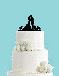 Custom Couple Kissing with Your Choice of Multiple Dogs or Cats Acrylic Wedding Cake Topper