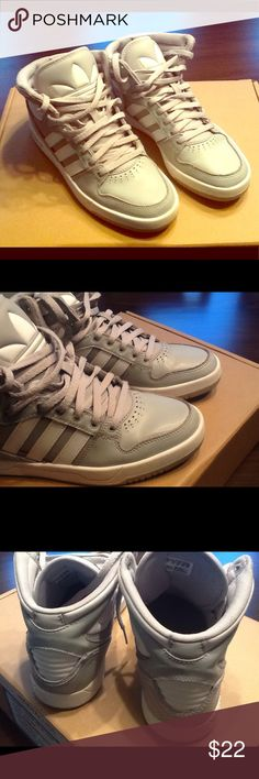 Adidas Court Attitude J - Grey and White Gently worn high top sneakers - great for casual/weekend wear. adidas Shoes Sneakers