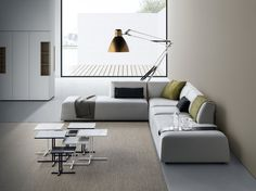 The best modern interior design ideas are simple and timeless. The Italian design company MDF Italia expresses at best contemporary design: here you can see Thea Sofa system, K coffee table and Inmotion modular system Sofa Design, Corner Couch, Italia Design, Design Apartment, Soft Seating, Coffee Table Design, Coffee Tables, Modern Interior Design, Contemporary Design