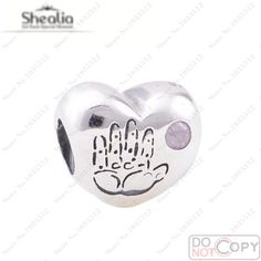 Pink Fashion Beads Authentic 925 Sterling Silver Baby Girl Hearts Charms Fits European Charm Bracelets DIY Jewelry Making