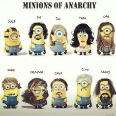 #minions #of #anarchy  #soa #sons #jax #opie #gemma #tara #juice #tig #clay #bobby #chibs #kozik #samcro #redwoodoriginal