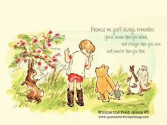 Promise me you'll always remember: You're braver than you believe, and stronger than you seem, and smarter than you think.- Winnie the Pooh
