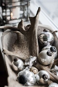 """Dough bowl, mercury glass and.....antlers? """"Santa had one more reindeer before he visited our house kiddies""""."""