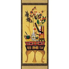 "Scholarly Desk Scroll Hanging Wall Art Interior Decor Handmade Asian Oriental Print Korean Folk Flower Vase Painting, By Antique Alive // $49.99  Features: - Perfect reproduction of Joseon dynasty (1392-1910) Korean folk painting called Minhwa - Dynamic composition, bold colors - Energetic and whimsical visualization - Size: 15.7""W x 47.2""H (40 × 120cm)-  -  BTW, you may want to visit http://artcaffeine.imobileappsys.com"