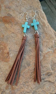 Cowgirl TURQUOISE CROSS Leather FRINGE EARRINGS Turquoise Southwestern Gypsy #Unbranded #PIERCED