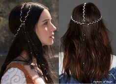 In the first episode Mary wears thisGypsy Junkies Pearl Leather Headpiece($76). Worn with Gillian Steinhardt custom necklace. FIYThis headpiece was also woven into Mary's hair in Chill in the Airand For King and Country (Catherine's departure scene, worn with Alexander McQueen Dress).