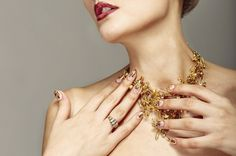 Trendy nail design and beautiful necklace of golden pins safe Trendy Nails, Beautiful Necklaces, Fashion Photography, Nail Designs, Nail Art, Stock Photos, Chain, Jewelry, Jewlery