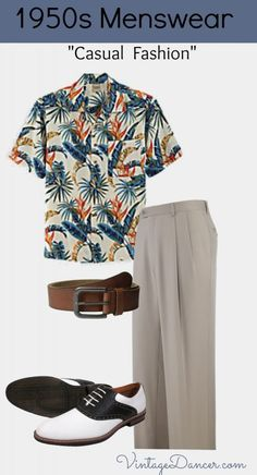 1950s Men\'s Casual Summer Fashion with a Hawaiian Shirt. Get the look at VintageDancer.com