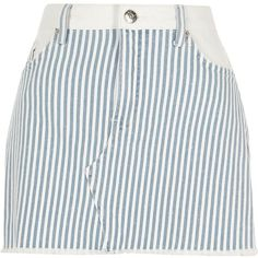 River Island Blue stripe mini denim skirt (115 BRL) ❤ liked on Polyvore featuring skirts, mini skirts, blue, holiday shop, sale, women, zipper mini skirt, button-front denim skirts, high waisted denim mini skirt and denim skirt