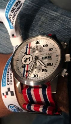 Maurice de Mauriac Le Mans watch with the popular Union Jack Nato strap.