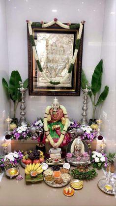 Diy Diwali Decorations, Festival Decorations, Flower Decorations, Silver Pooja Items, Mandir Design, Indian Room, Pooja Room Door Design, Spiritual Decor, Diwali Diy