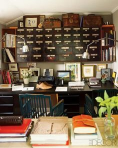 For the office: add vintage world treasures to the tops of bookcases