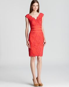Tadashi Shoji Lace Dress - V Neck Scalloped Hem | Bloomingdale's