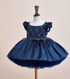 4a4d3895e Couture For Children, Bibiona @bibiona_couture Instagram. Navy blue silk  dress decorated with handmade