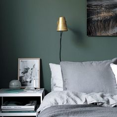 Calming dark green in the bedroom (couldn't resist sharing one more pic from the home tour on the blog right now) #darkgreen #bedroom #hometour by myscandinavianhome