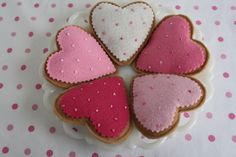 Set of 5 Tea Time Heart Felt Cookies, Tea Party, Tea Time, Kids, Children Toy, Christmas Gift For Girls. $8.00, via Etsy.
