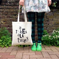 It Takes All Types Tote Bag Typography Tote Bag by helloDODOshop