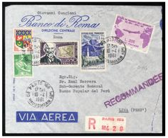 "1961 205L ""Gronchi Rosa"", carried by hand to France and used from Paris, April 10 on registered and flown cover to Lima, Peru, arriving April 12, 1961, with two arrival postmarks on back. Cover roughly opened at right, otherwise fine and interesting mixed franking (improper) with the error of color, with 2009 Raybaudi and 2011 Colla certificates (Sass.921) -- $2,500.00  2013year"