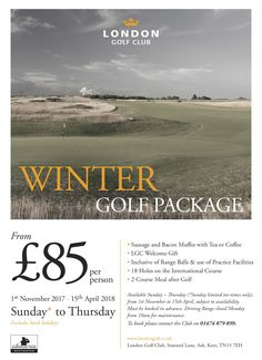 Winter Golf Package from £85 per person, includes breakfast and a 2 course meal after golf, plus more!
