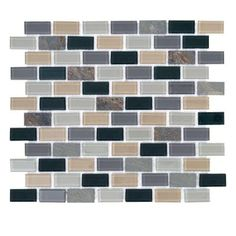 $6.98/ea Jeffrey Court Villamino 1in*1.5in Brick 10.5in*12in Glass & Slate Wall Tile