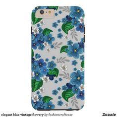 elegant blue vintage flowery tough iPhone 6 plus case