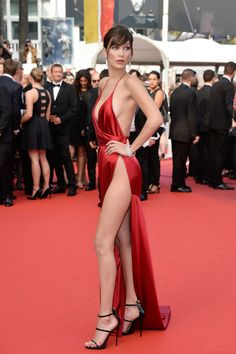 Bella Hadid wears Alexandre Vauthier on the red carpet for The Unknown Girl (La Fille Inconnue) at Cannes.