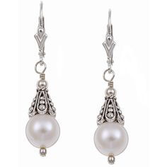 Charming Life Sterling Silver  Freshwater Pearl Earrings ($31) ❤ liked on Polyvore featuring jewelry, earrings, clasp charms, freshwater pearl earrings, hand crafted jewelry, handcrafted earrings and handcrafted jewelry