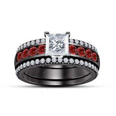 3Pcs Princess Diamond & Garnet 14k Black Gold Women's Wedding Bridal Ring Set    #aonejewels #EngagementWeddingAnniversary