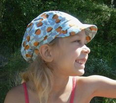 Children summer hat cotton light blue and brown by Lupeworks, $26.00