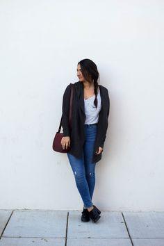 Kristen of The Wandering Brunette in Restricted Shoes Tipsy Heels in black