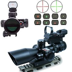 AOTOP 2.5-10×40 Tactical Rifle Scope Dual Illuminated Mil-dot with Red Laser, Rail Mount and 4 Reticle Red and Green Dot Open Reflex Sight with Weaver
