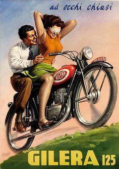 By Gino Boccasile (1901-1952), 1949, Eyes Closed Gilera 125. #ItalianPoster