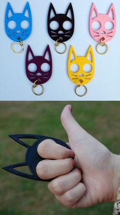 Cat keychain or brass knuckles for self defense?  from: http://lineday.com/8470/