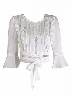 Shop Blanco Lace Ladder Trim Bell corbata cruzada frontal Blusa from choies.com .Free shipping Worldwide.$17.09