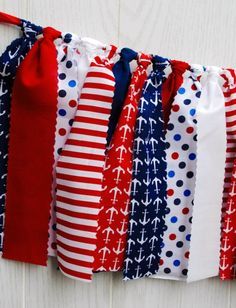Nautical Patriotic Fabric Bunting - FREE Shipping