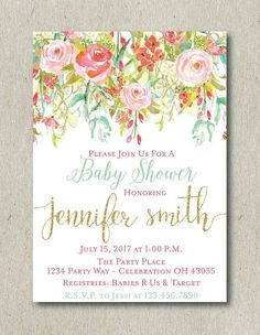 Mint and Coral Baby Shower Invitation Floral Baby Shower