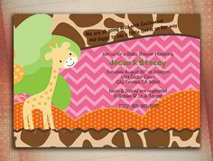 Giraffe Baby Shower Invite Giraffe Birthday Invite by MVDesignInk