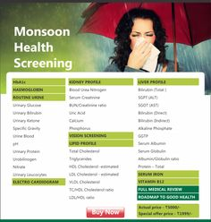 #Monsoon Health Packages :Our body is more susceptible to health issues in rainy season. Healthspring offers best preventive health checkup services & packages at an affordable cost during monsoon season.