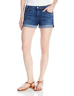 7 For All Mankind Womens Relaxed Mid Roll up Short Jean in Brillian Brilliant Blue Broken Twill 30x45 *** Read more  at the image link. (This is an Amazon affiliate link)