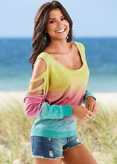 Slit sleeve sweatshirt