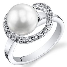 Swirl Design Freshwater Cultured White Pearl Ring 859mm Sterling Silver CZ Accent Size 7 * For more information, visit image link.(This is an Amazon affiliate link)